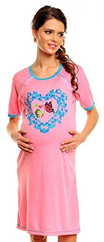 Zeta Ville – De Las Mujeres Maternidad Algodón Mariposa Impresión Enfermería Camisón – 128c (Rosa, 16)