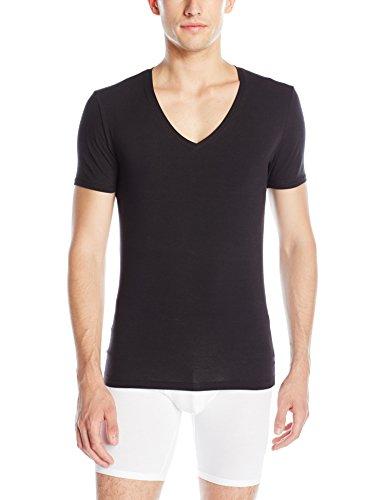 Tommy John Men's Cool Cotton Deep V-Neck Undershirt, Black,