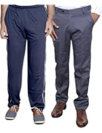 Indistar Mens Formal Trousers With Men's Premium Cotton Lower (Length Size -40) With 1 Zipper Pocket And 1 Open... - B01GEIPEP2