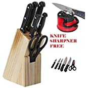 7-Piece Pcs Best Kitchen Knife Set With Wooden Block Stand Chef'S Carver Boning Utility Pairing Knives And Scissors