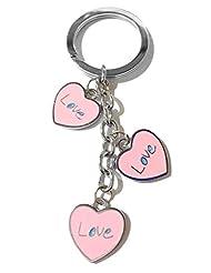 Keychain Heart Shape Three Pink Colour Love Metal Key Ring-TF-302