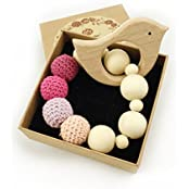 Wooden Baby Toy - Teething Ring Set Untreated Maple Teether With Organic Cotton Gift Bag Most Popular Baby Gift...