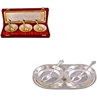 """Silver & Gold Plated 3 Heavy Flower Bowl With Spoon And Tray And Silver Plated 2 5"""" Bowl With Spoon And Tray"""