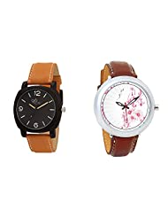 Gledati Men's Black Dial & Foster's Women's White Dial Analog Watch Combo_ADCOMB0002046