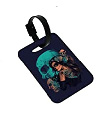 Snoogg Day Of The Dead Designer Luggage Tags Premium Quality Card Tags - Great For Travel