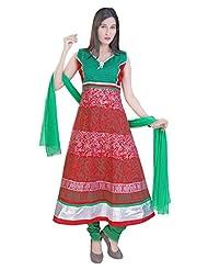 Divinee Red Cotton Readymade Anarkali Suit - B0136DLKRO