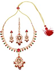 Exotic India Faux Ruby And Emerald Necklace Set With Mang Tika - Copper Alloy
