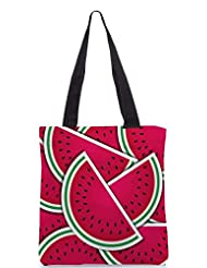 Snoogg Watermelon Wedge Background Card In Vector Format Designer Poly Canvas Tote Bag