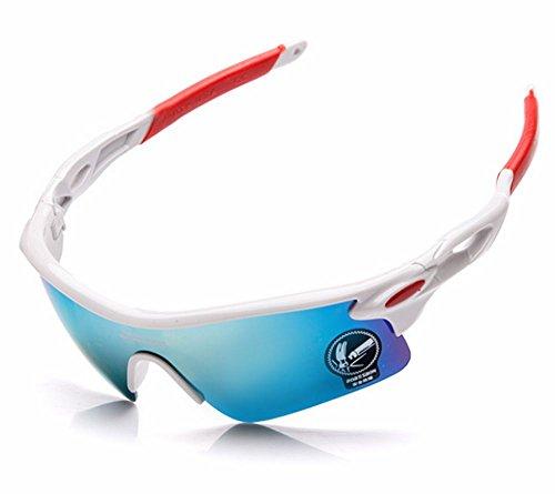 【多少難あり】UV400サングラスセット スポーツサングラス  フック付収納バック付きセット (白/赤(ミラーレンズロゴ有)