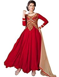 Women's Red & Beige Embroidered Georgette Suit