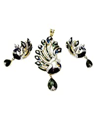 Poddar Jewels Cubic Zirconia Blue/Green Meena Peacock Shape Pendant Set