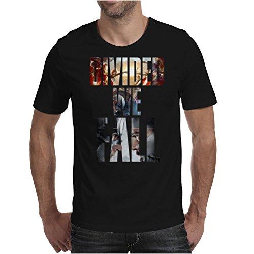 Captain America Civil War Divided we fall Mens T-Shirt Black / Large