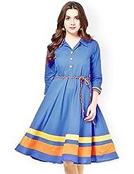 Binny Creation Women's Sky Blue Cotton Kurti (BK1003-Blue Dori)