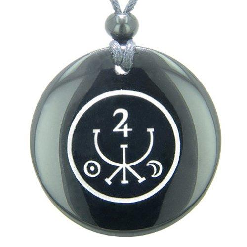 Universe Ancient Money Sigil Talisman Black Agate Magic Pendant Necklace