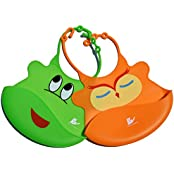 Waterproof Baby Bib Crumb Catcher Is Easy To Clean, Lightweight And Comfortable - Soft Silicone Bibs Keep Baby...