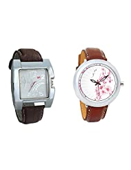 Gledati Men's White Dial & Foster's Women's White Dial Analog Watch Combo_ADCOMB0002262