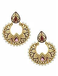 The Art Jewellery Rajwadi Purple Color Chand Shaped Dangle&Drop Earrings For Women