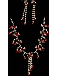Exotic India Scarlet Necklace And Earrings With Charms - White Metal With Cut Glass