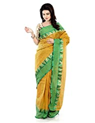 B3Fashion Traditional Bengal Handloom Green & Yellow Striped Elegant Tangail Cotton Saree With Contrast Strip...