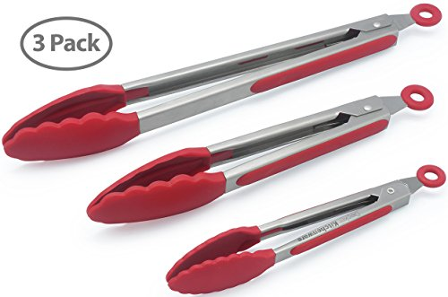 Set Of 3 - 7, 9, 12 Inch Heavy Duty, Non-stick, Stainless Steel Kitchen Tongs For Barbeque, Cooking, Grilling...