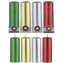 Mega Candles - Unscented 2 X 5 Metallic Pillar Candle, Set Of 4 By Mega Candles
