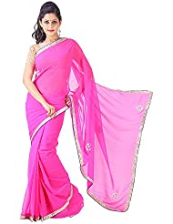 Archiecs Creations Elegant Jaipuri Chandla Work Chiffon Saree (With Blouse Piece)