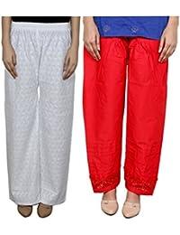 IndiWeaves Women Full Cotton Chikan White Palazzo With Cotton Red Chaudi Lace Semi- Patiala Salwar - Free Size (Pack Of 1 Palazzo With 1 Patiala Salwar)