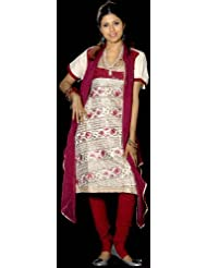 Exotic India Ivory And Purple Designer Salwar Kameez Fabric With Persian - Ivory