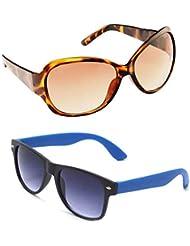 New Stylish UV Protected Combo Pack Of Sunglasses For Women / Girl ( BrownButterfly-RoyalblueWayfarer ) ( CM-SUN...