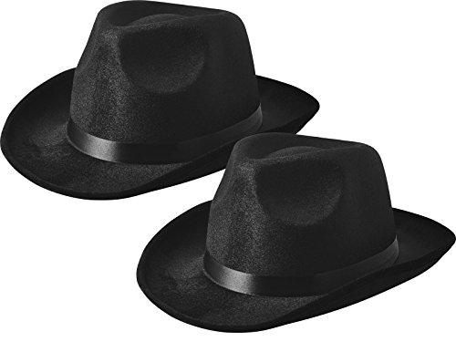 Fedora Gangster Hat, Black Pinched Hat Costume Accessory, Set of 2