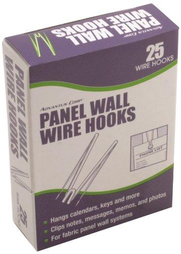 Advantus Panel Wall Wire Hooks, Silver, 25 Hooks/Pack, Case