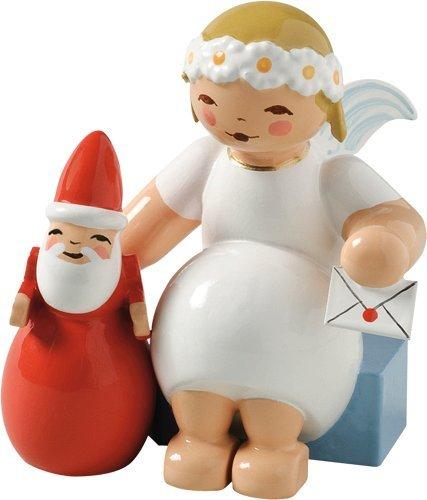 Handpainted Wooden Margarite Angel with Santa