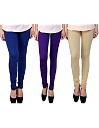 Snoogg Womens Ethnic Chic Inspired Churidar Leggings In Blue, Purple And Beige