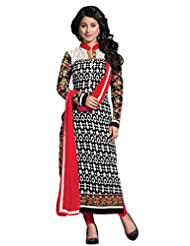 Black & Off White Georgette Semistitched Salwar Kameez - Floral Embroidary With Patch Patti