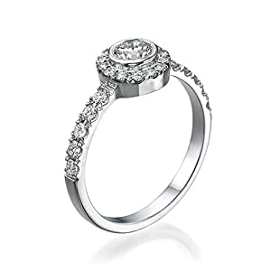 Solitaire Diamond Ring 1/2 ct, E Color, VVS2 Clarity, GIA Certified, Round Cut, in 14K Gold / White