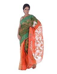 AB Women's Cotton Dhakai Jamdani Saree Traditional In Green N Orange , Border And Pallu With Self Weave And Zari...