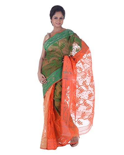 3663f42e6d AB Women's Cotton Dhakai Jamdani Saree Traditional In Green N Orange ,  Border And Pallu With