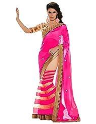 Bano Tradelink Women's Georgette Saree (Btl_Tr1436-P, Pink)