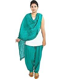 Womens Cottage Women's Pure Solid Cotton Semi Patiala Salwar & Cotton Dupatta Stole With Lace Set