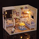 Cuteroom Dollhouse Miniature DIY Kit With LED Light Cover Wood Toy Doll House Room Kitten Diary