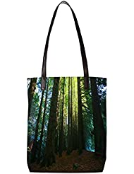 Snoogg Many Tress Womens Digitally Printed Utility Tote Bag Handbag Made Of Poly Canvas With Leather Handle