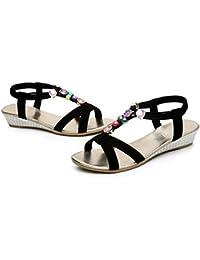 RoseSummer New Fashion Women S Flat Sandals Massage Metal Flat Thong Sandals