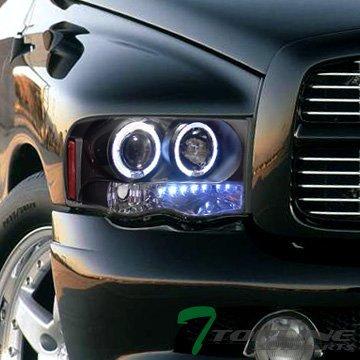 Topline Autopart Black DRL Led Dual Halo Rims Projector Head Lights Lamps Signal 02-05 Dodge Ram
