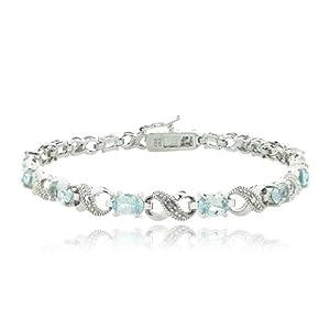 6.6ct Blue Topaz & Diamond Accent Infinity Bracelet