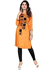 Pavan Fashion World Digital Printed Orange Silk Kurti