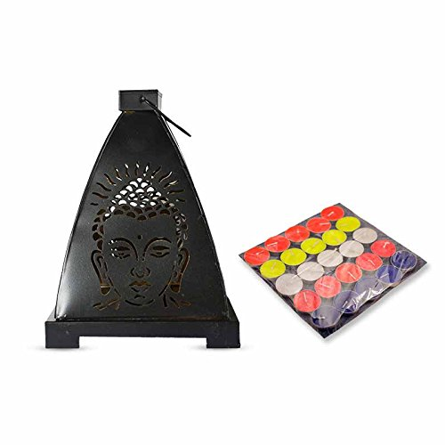 Black Buddha Lantern Combo | Pack Consists Of 1 Buddha Lantern With 50 Multicolor Tealight Candles Free | By YesNo.in