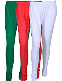 Cotton Leggings (Culture The Dignity Women's Cotton Leggings Combo Of 3_CTDCL_GPW_GREEN-PINK-WHITE_FREESIZE)