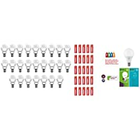 Eveready B22 Base 9-Watt LED Bulb (Pack Of 25, Cool Day Light) With Free 50 1015 AA Carbon Zinc Batteries + QL...