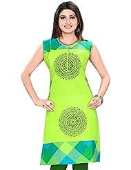 Meher Impex Parrot Green Cotton Short Sleeves Kurti