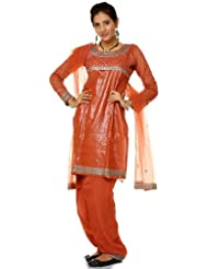 Exotic India Aragon-Brown Shimmer Salwar Kameez Suit With Sequins And Th - Brown